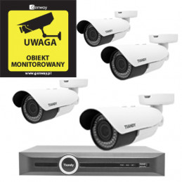 Domowy monitoring - 4 kamery Tiandy 4Mpix MOTOZOOM TC-NC43M