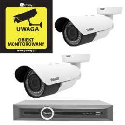 Zestaw Monitoring 2 kamery Tiandy 4Mpix MOTOZOOM TC-NC43M