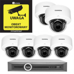 Domowy monitoring - 6 kamer Tiandy 4Mpix MOTOZOOM TC-NC44M