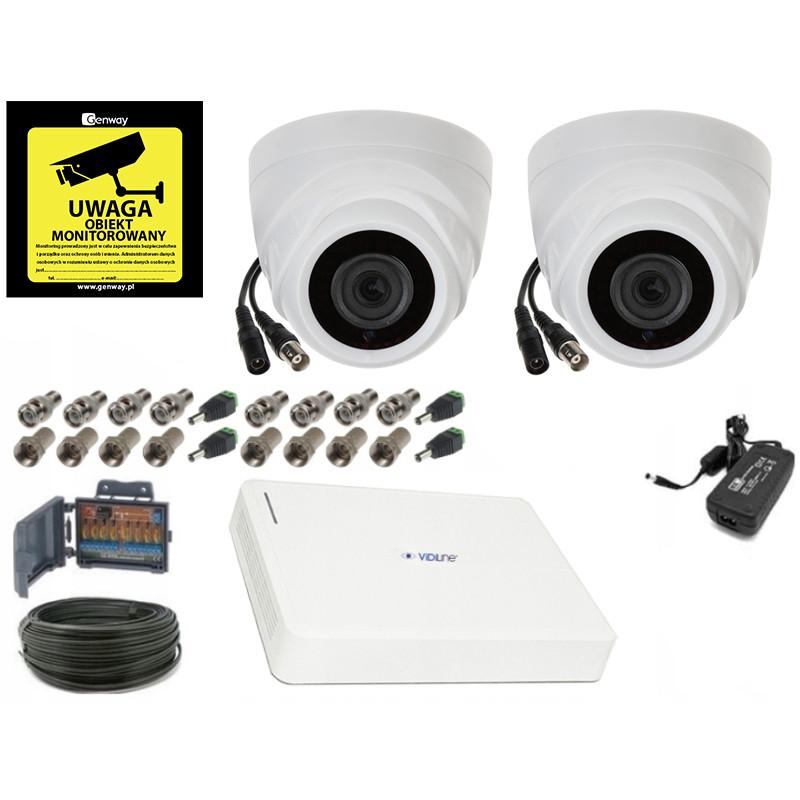 Gotowy do montażu kompletny zestaw 2 kamer 2Mpx FULL HD z dyskiem twardym ONLINE