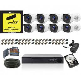Monitoring 2Mpx 8 kamer tubowych IR20 HDD 1TB Super Jakość