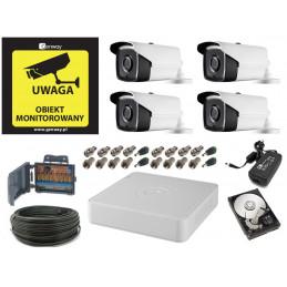 Monitoring 5Mpx 4 kamery zewnętrzne kabel 50 metrów HDD 1TB PURZ