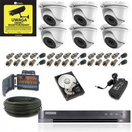Full Zestaw 6 kamer 5Mpx Profesjonalny Monitoring