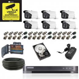 Monitoring 6 kamer zewnętrznych 5Mpx - Gotowy Zestaw