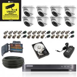 Zestaw Monitoringu 8 kamer kopułkowych 5Mpx Dzień/Noc IR20