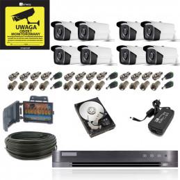 Monitoring 8 kamer tubowych zewnętrznych 5Mpx IR20