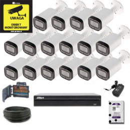 Zestaw Monitoringu Dahua XVR5116HS-X + 16 x HAC-HFW1200R-Z-IRE6- MotoZoom