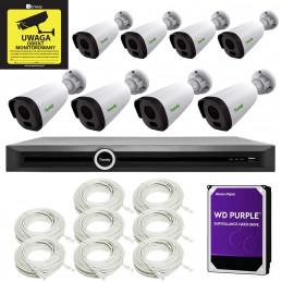 Zestaw monitoring IP Tiandy 8 tubowe kamery 2Mpx Rejestrator PoE