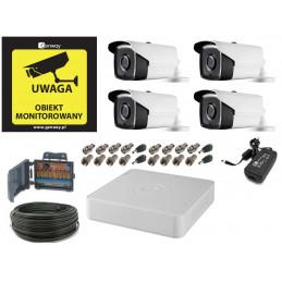 Monitoring 5Mpx 4 kamery zewnętrzne kabel 50 metrów