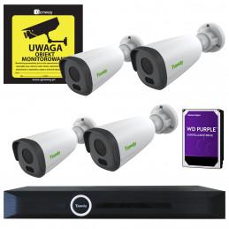 Zestaw Monitoring 4 kamery tubowe StarLight 2Mpx Markowy Dysk 1TB