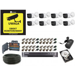 Monitoring 8 kamer tubowych zewnętrznych 8Mpx 4K IR20