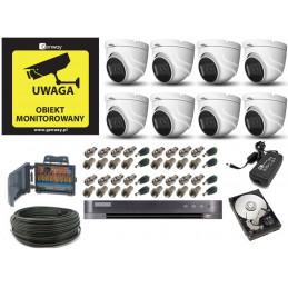 Monitoring 8 kamer kopułkowych zewnętrznych 8Mpx 4K IR20
