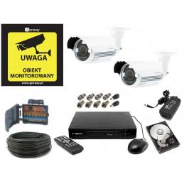 Zestaw monitoringu 5Mpx 2 kamery kabel 50m. HDD 1TB