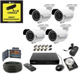 Zestaw monitoringu 5Mpx 4 kamery kabel 50m. HDD 1TB