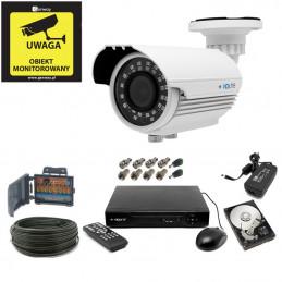Zestaw monitoringu 5Mpx 1 kamer kabel 50m. HDD 1TB