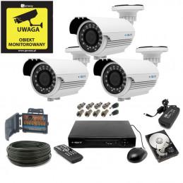 Zestaw monitoringu 5Mpx 3 kamery kabel 50m. HDD 1TB