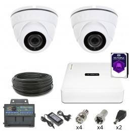 MONITORING 2 Kamery Kopułkowe HDD 1TB 2Mpx IR