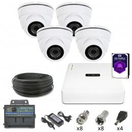Monitoring 4 kamery kopułkowe HDD 1TB 2Mpx IR