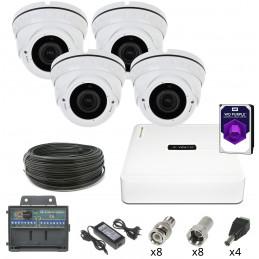 Monitoring 4 Kamery kopułkowe HDD 1TB 2Mpx IR 2.8-12mm