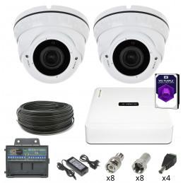 Monitoring 2 kamery kopułkowe HDD 1TB 2Mpx 2,8-12mm