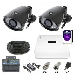 Monitoring 2 kamery tubowe 2Mpx HDD 1TB