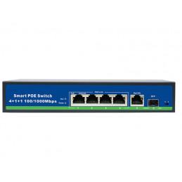 Switch 4 porty PoE + 1 port Uplink 1000Mb/s + 1 port światłowodowy SFP