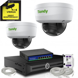 Monitoring Tiandy 2 kamery kopułkowe 8Mpx 4K