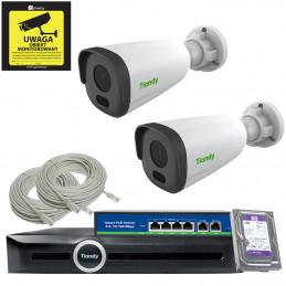 Gotowy do podłączenia zestaw 2x kamer tubowych 2Mpx MOTOZOOM+ Rejestrator TC-R3105