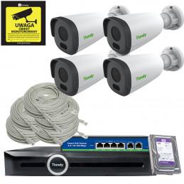 Monitoring Tiandy 4 kamery Full HD MOTOZOOM + Rejestrator TC-R3105 + Akcesoria