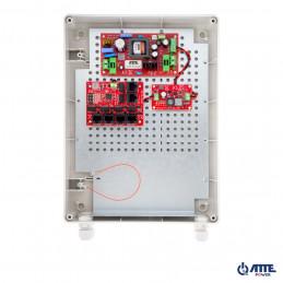 Zestaw buforowy do 5 kamer IP, w obudowie zewnętrznej ABOX-XL2 (1x AKU 7Ah), zasilacz 72W, switch PoE 6 portowy 10/100Mbps (5xP