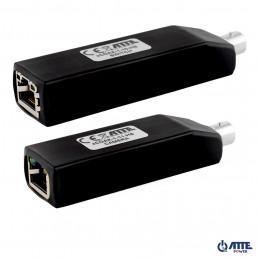 Zestaw aktywnych konwerterów do transmisji Ethernet oraz PoE po koncentryku, 1 kanał, 10/100Mbps, PoE IN/OUT PASSIVE, zasięg